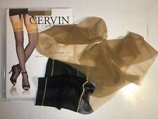 CERVIN Capri 15 Bicolore Echte franz. RHT Nylon Strümpfe Gr.6 Gazelle /Noir