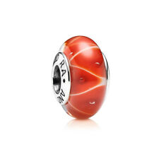 New Pandora Charm Coral Looking Glass Murano Glass Bead 790926 Red Orange