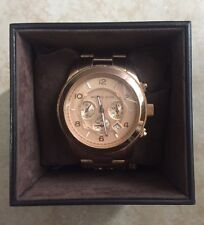 "Michael Kors ""Large Runway"" Rose Gold Watch 45mm"