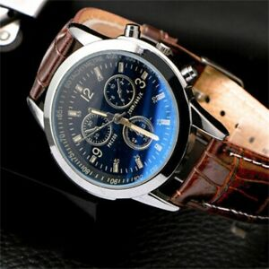 Men's Leather Analog Quartz Wrist Watch 12-Hour Dial Business Belt Watches HL