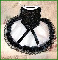 Pet Dog Black White Lace Sparkle Studded Holiday Dress  XS/S S/M M/L L/XL XL/XXL