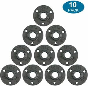 """10 Pcs 3/4"""" Floor Flange Malleable Black Cast Iron Pipe  for Industrial Pipe"""
