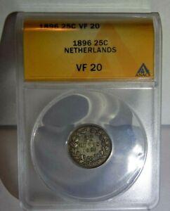 NETHERLANDS TWENTY-FIVE CENT 1896 25C ANACS VF 20 VF20 Dutch Certified KEY Coin