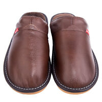 Men Warmer Plush Non Slip Indoor Bedroom Cotton Quality Cow Leather Slippers