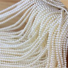 """4-5mm White Natural Real Freshwater Pearl Roundel loose Beads 15"""" AAA+++"""
