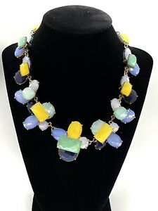 Talbots Chunky Purple Yellow Green Blue & Gold Tone Statement Faceted Necklace