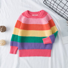 Baby Kids Girls Rainbow Pullover Sweater Jumpers Cardigans Striped Knitting Tops