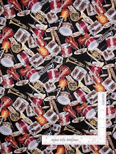 Music Instrument Toss Violin Drums Horns Cotton Fabric David Textiles - Yard