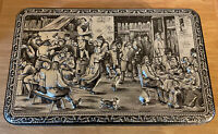 Vintage Tin Belgium Teniers Silver Cookie Biscuit Tin City Scene