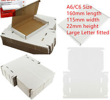 50 xWHITE C6 A6 CARDBOARD POSTAL BOXES 160x115x22mm ROYAL MAIL LARGE LETTER PIP