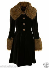MISS SELFRIDGE Black Velvet Fur Collar Cuff Girly Skirted Frock Dress Coat 16 44