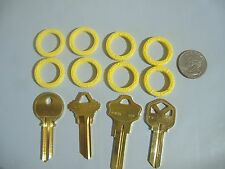 LOT OF EIGHT YELLOW LARGE KEY IDENTIFIER RINGS IDENTIFICATION FOR KEYS
