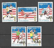 Football Cambodge (9) série complète 5 timbres oblitérés