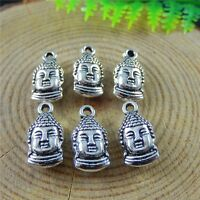 40pcs Vintage Silver Alloy Buddha Head Charms Pendant Jewelry Making Crafts