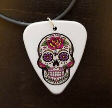 Purple Pink flower sugar skull necklace day of the dead gift guitar pick girl