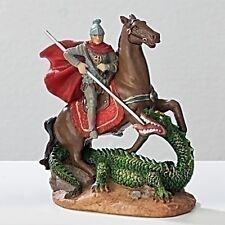 Statue St George 3.5 inch Painted Resin Figurine Patron Saint Catholic Card Box