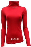 WOMEN WINTER RIBBED ROLL POLO NECK PLUS SIZES LONG SLEEVE CASUAL TOP 8 - 26/28