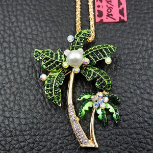Hot Rhinestone Crystal Pearl Coconut Tree Pendant Betsey Johnson Chain Necklace