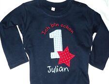 Kinder T-Shirt auch mit kurze, blau Stern bestickt Name Geschenk, 1. Geburtstag