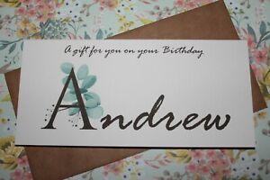 Handmade Personalised Birthday Green & Black Name Money Voucher Gift Card Wallet