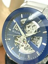Bulova Men's Watch 96A204 Automatic Silver Stainless Steel Blue Skeleton Dial