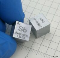 1 Piece 99.9% High Purity Antimony Sb 10mm Cube Carved Element Periodic Table