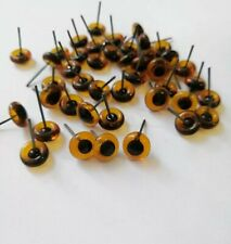 8mm amber glass eyes on wire  4 pairs for needle felting/toy making