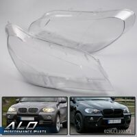 Front Left & Right Headlight Lampshade Lens Cover For 2007-2012 BMW X5 E70