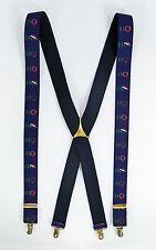 Christmas Ho Ho Ho Suspenders Braces Pelican Germany X-Back Clips Holiday Wreath