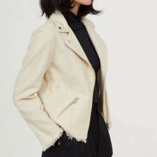 NWT H&M Cream Tweed Moto Jacket Zip Pockets Size 8 MSRP $60
