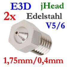 2x E3D 0,4mm Edelstahl Stahl Düse jhead V5 V6 Nozzle 1,75mm J-Head Hotend 3D UM2