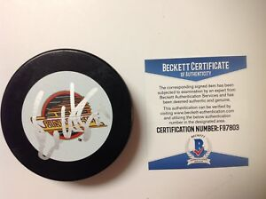 Bo Horvat Signed Autographed Canucks Throwback Hockey Puck Beckett BAS COA a