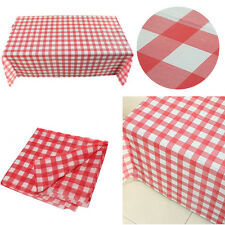 Red Gingham Plastic Disposable Wipe Check Tablecloth Party Outdoor Picnic BBQ WK