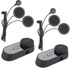 2x Motorcycle Helmet Intercom Bt Interphone Bluetooth Rider Headsets Radio 800m