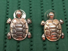 Silver Turtle Pierced Earrings. Stamped Estate Jewelry w/ Gift Box FREE SHIPPING