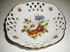 Kleiber Lattice Floral Bowl Collectible Goldauflage 22 Karat Handarbeit Germany