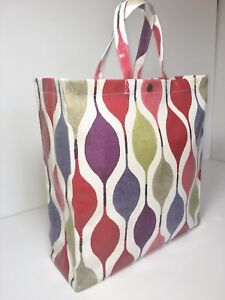 UK Made, Nikki's Original Tote Bags 100% Cotton Oilcloth 'Verve' Berry in Gloss