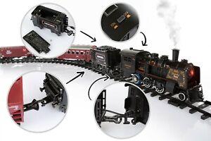 Christmas Gift Electric Railway Set Train Toy Steam Music Light Smoke LOCOMOTIVE