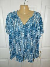 Laura Scott Women's Blue & White Button-Down S/S Tunic Top Blouse - Plus Size 2X