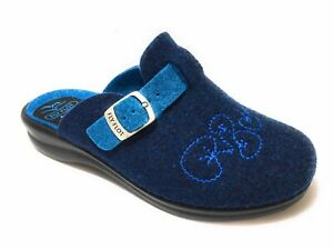 FLY FLOT, Pantofola donna a punta chiusa con fibbia, Blu, Made in Italy H9N79 DT