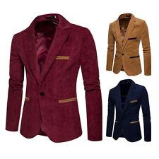 Mens Lapel Blazer Velvet Outwear Jacket Slim One-Button Casual Long Sleeve Tops