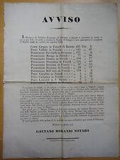 1847-AVVISO-VENDITA POSSESSIONI A FOSSOLI; ROVERETO E S.MARINO-CARPI DI MODENA