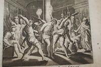 GRAVURE SUR CUIVRE FLAGELLATION JESUS CHRIST-BIBLE 1670 LEMAISTRE DE SACY (B228)