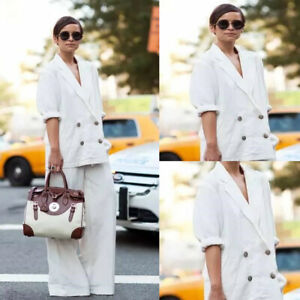 White Linen Women's Suits Double Breasted Loose Fit Office Formal Wear Plus Size