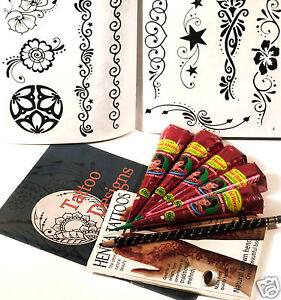 HENNA EXTRA LARGE TATTOO KIT, 10 PAGE DESIGN BOOKLET,  natural, UK FREE POST tr