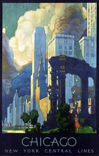 """Vintage Illustrated Travel Poster CANVAS PRINT Chicago New York Central  8""""X 10"""""""