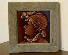 Antique 1800s Trent Tile Co Art Pottery Tile Relief Mauve Profile Lady Woman