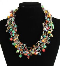 "Finely Beaded Stranded Multicolored Treasure Necklace 20"" Artisan Magnet Clasp"