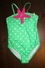 NWT Gymboree Swim Shop 2016 Size 10-12 Green Dot Pink Starfish Swimsuit