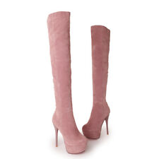 Ladies Over The Knee Thigh Boots Winter Warm Slim High Heels Platform Shoes NEW